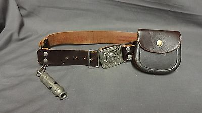 Vintage Collectable Brown Leather Girl Guides Belt + Acme Whistle & Pouch