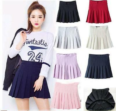 Women Lady Tennis High Waist Plain Skater Flared Pleated Short Mini SkirtN New !
