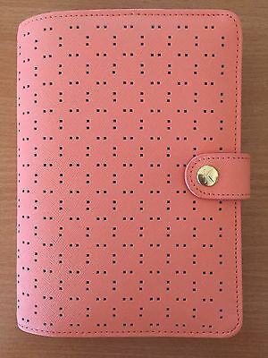 Kikki K Peach Perforated Textured Medium Leather Personal Planner FREEINSERT NEW