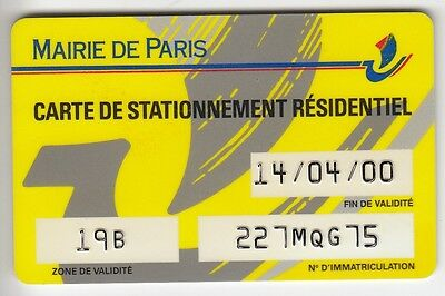 Piaf Parking Carte / Card .. France Paris 75 Resident 04/00 Personnel Magnetique