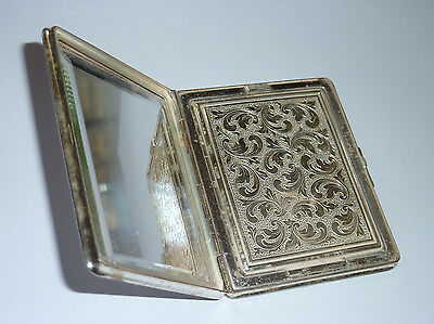 Vintage Antique 835 Silver Powder Compact Case Collectible Mirror Cosmetics