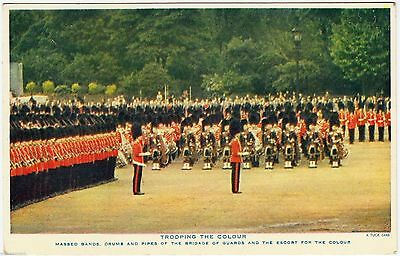 TROOPING THE COLOUR -  Brigade Of Guards - Raphael Tuck -  c1940s era postcard
