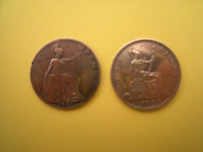 2 old rare penny coins