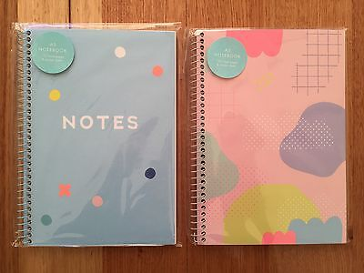 Kikki K Cute Pink Blue A5 Spiral Notebooks Planner WITH 2 FREE PENS BRAND NEW