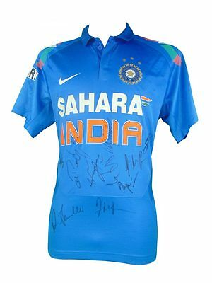 India Cricket Signed One Day Shirt + Photo Proof *see Dhawan Dhoni Sign Shirt*