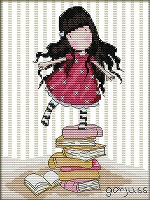 Girl Standing on Books. 14CT counted cross stitch kit. Craft brand new.