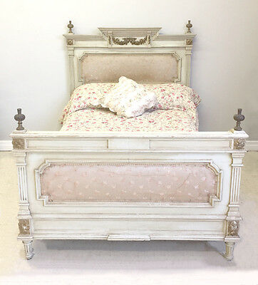 STUNNING QUALITY LOUIS XVI STYLE CUSTOM DOUBLE BED -  SILK UPHOLSTERY c1900