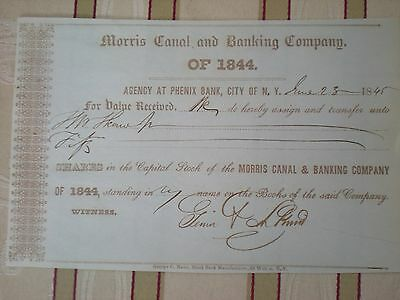 USA -  Moris Canal and Banking Co.   div. Shares  1845  10/757