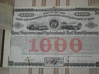 USA -  Rome, Watertown and Ogdensburgh Rail Road  1000 $  1874 Ü  10/1125