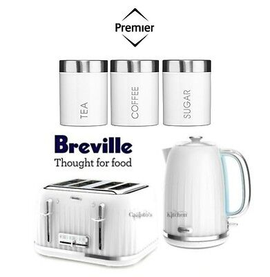 Breville Impressions White Kettle and Toaster Set + Premier Canisters - New