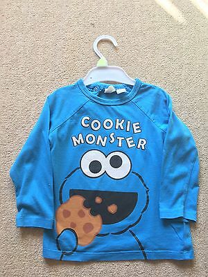 Cookie Monster Long Sleeved T Shirts X2 12-18 Months