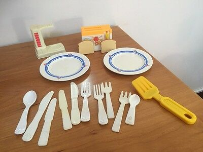 Vintage Toy Plates Cutlery Kitchen Accessories Fisher Price 1980's