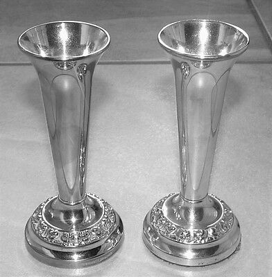Pr Very Similar Mid 20th Century Silver Plated Vases Ianthe Of England 13cm Tall