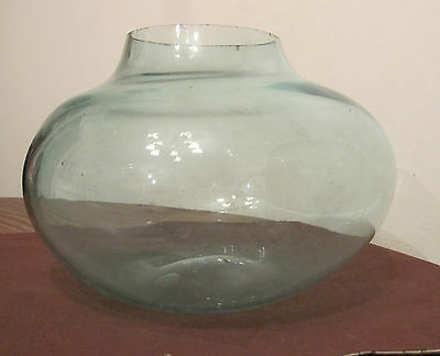 antique 19th century hand made blown aqua glass demi john bottle cut off top old