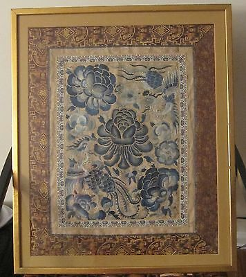 antique hand sewn 1800's ornate Qing dynasty needlepoint embroidery tapestry art