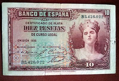 1935 SPAIN 10 PESETAS Paper Money Antique Banknotes Currency SILVER CERTIFICATE