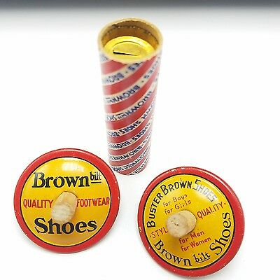 Early 1900's Buster Brown Shoes - 2x Tin Litho Spinning Tops & Noise Maker MINT