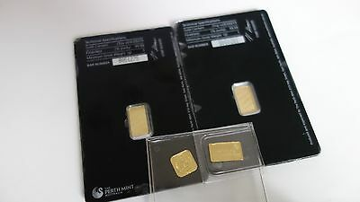 4 x 1 Gram Solid Fine 999.9 Pure Gold Bullion Bar