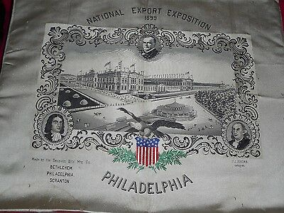 Antique Sauquoit Woven Silk Picture National Export Exposition 1899 Philadelphia