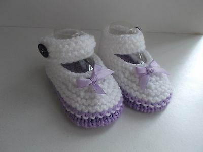 New Hand Knitted Baby Mary Jane Shoes/Booties 0-3 Months White and Lilac