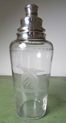 Hawkes New York Art Deco Sterling Silver & Cut Glass Cocktail Shaker C 1930