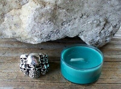 Green Money Charged Candle LUCKY Skull Ring 9 Good Fortune Haunted Desires