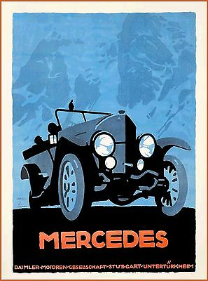 1914 Mercedes Benz Car German Advertisement Vintage Germany Travel Poster Print