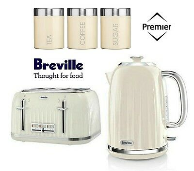 Breville Impressions Kettle and Toaster Set With Cream 3 Piece Canister Set New