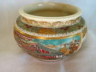 Small Very Old Handpainted Oriental Pottery Pot. 5.5 Cm High.