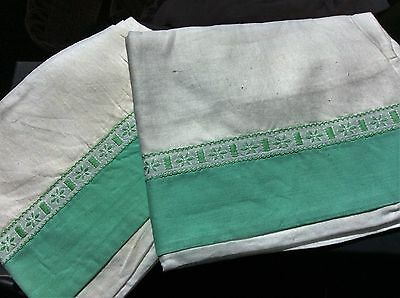 Vintage Pillowcases, 2 x white with green detail 28 x 18 inches