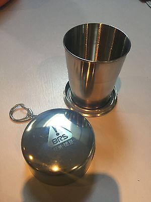 Outdoor Camping Hiking Travel Stainless Steel Folding Portable Mug Cup Keychain
