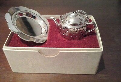Vintage Teesieb Silver Plate with Tray Made in England Reg.Design No: 883376 OVP