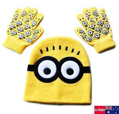 NEW Minion Despicable Me Beanie Hat and Gloves Set. Yellow. Girls Boys 2-8 yr