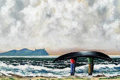irish art,Original Painting,Carrying The Currach on Dingle Beach, Co Kerry.