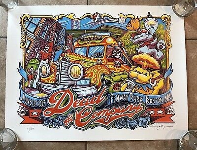 Dead & Company AJ Masthay Fenway Park Poster Signed Limited Print Numbered 6/18