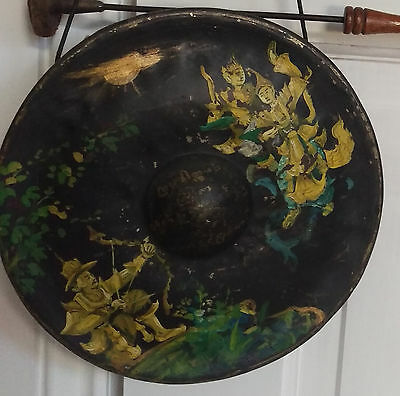 Antique Hand Painted 19th C Asian Gong with Striker