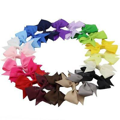 "20x 3"" Kids Baby Hair Bow Band Aligator Clips Grosgrain Ribbon Boutique Headband"