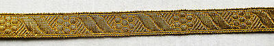 Vintage Gold Metallic Trim Repeating Blossom Stylized Ribbon Design  French