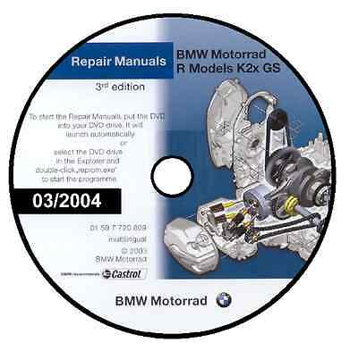 Manuale Officina Bmw R1200 R 1200 Gs 03/2004 Workshop Manual Reprom Cd Dvd