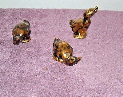 3 Stangl Antique Gold And Black Duck Figurines 3