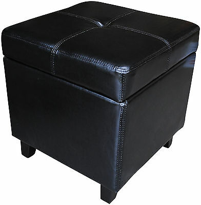 Genuine BRAND NEW Real Leather BLACK Ottoman Box Storage Footstool Pouffe