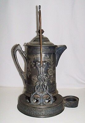 Antique Poole Silver Co. Silverplate Tilting Water Pitcher with Stand No. 1200