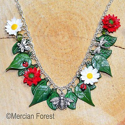 Hawthorn Leaf Flower Pendant Necklace Handmade Clay Jewellery Pagan Beltane