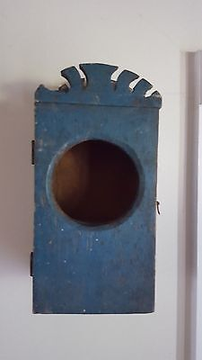 Antique Primitive Pennsylvania Hanging Watch Box With Early Blue Paint