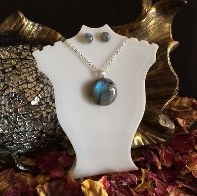 Awesome natural Labradorite sterling silver pendant + stud earrings set 🎨