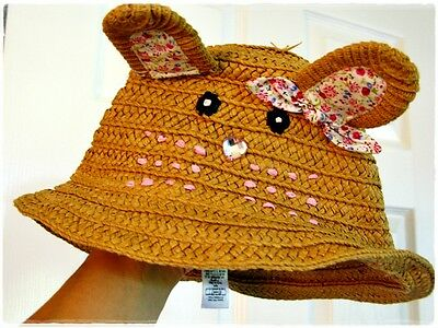 sun hat mouse cat girl 3 4 5 years flowers straw summer cap