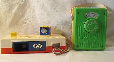 VINTAGE FISHER PRICE 1976 Wood TOY POCKET RADIO & 1974 CAMERA GO TO THE ZOO USED