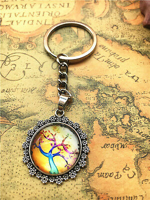 Hot Tibetan silver tree of life Cabochon Glass Pendant Metal Key Ring New48
