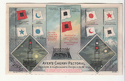 Ayers Cherry Pectoral Nautical Flags Lighthouse Lowell MA Vict Card c 1880s