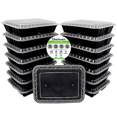 15pcs 3 Compartment Plastic Meal Prep Container Food Storage Microwave Safe 36oz